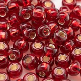 Preciosa Czech glass seed bead 5/0 Medium Red, silver lined