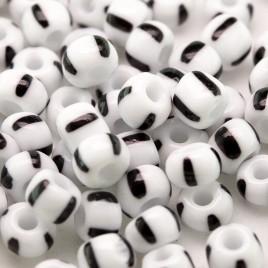 Preciosa Czech glass seed bead 5/0 Opaque White with Black Stripe