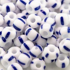 Preciosa Czech glass seed bead 5/0 Opaque White with Blue Stripe