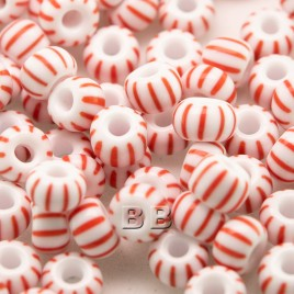 Preciosa Czech glass seed bead 5/0 Opaque White with Red pinstripe