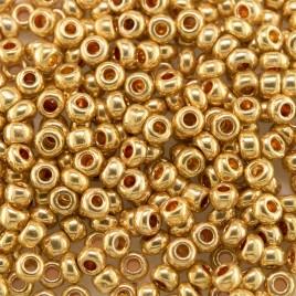 Preciosa Czech glass seed bead 9/0 Bright Gold Metallic