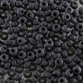 Preciosa Czech glass seed bead 9/0 Jet Black Matt glass.