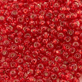 Preciosa Czech glass seed bead 9/0 Light Red glass silver lined
