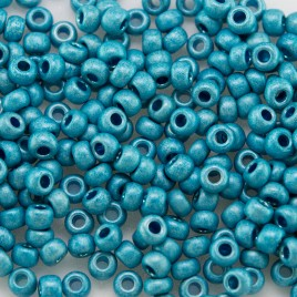 Preciosa Czech glass seed bead 9/0 Turquoise Matt Metallic coated, 2.5mm