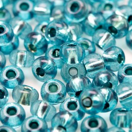 Preciosa Czech glass seed bead, size 5/0 Marine Blue silver Lined - Retail system