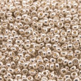 Preciosa Czech glass seed bead Size 11/0 Silver Metallic Terra coated
