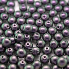 Purple Grape Iridescent Metallic coated 6mm round Czech glass druk beads - Retail system