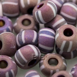 Purple/Mauve glass with White & Brown Stripe, Rainbow and Matt, size 32/0 seed bead - Retail system
