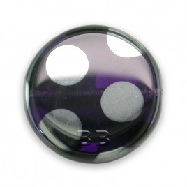 Purple Velvet Disc 17mm With Silver Peacock Spots  Pressed Glass Bead