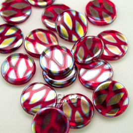 Raspberry Red Peacock Disc 17mm Pressed Czech Glass Bead - Retail system