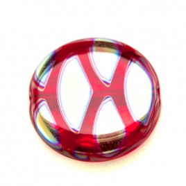 Raspberry Red Peacock Disc 17mm Pressed Czech Glass Bead