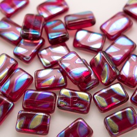 Raspberry Sorbet Peacock Rectangular 12x8mm Pressed Czech Glass Bead - Retail system
