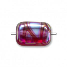 Raspberry Sorbet Peacock Rectangular 12x8mm Pressed Czech Glass Bead