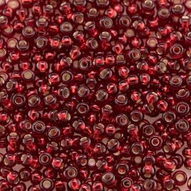 Red glass, silver lined, size 11/0 seed beads - Retail system