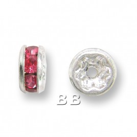 Rose 4.5mm Silver Plate Czech Crystal Rhinestone Rondelle