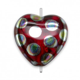 Siam peacock Heart 16x15mm  Pressed Czech Glass Bead - Retail system
