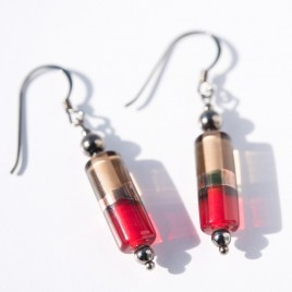 Siam Red & Beige Glass Bead Harmony Earrings