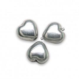 Silver Metallic Heart 6mm Pressed Czech Glass Bead