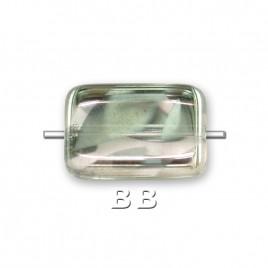 Silver Peacock rectangular 12x8mm Pressed Czech Glass Bead - Retail system