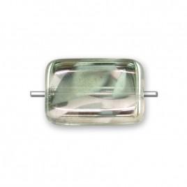 Silver Peacock rectangular 12x8mm Pressed Czech Glass Bead