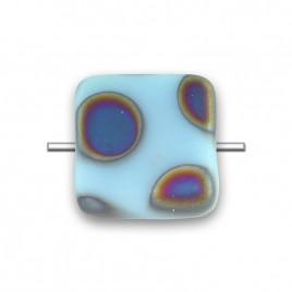 Sky Blue Peacock Matt 10x10mm Square Czech glass bead - Retail system
