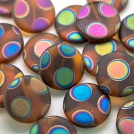 Smokey Topaz Matt Peacock Disc 17mm Pressed Czech Glass Bead
