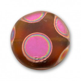 Smokey Topaz Matt Peacock Disc 17mm Pressed Glass Bead - Retail system