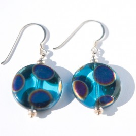 Sterling silver Aqua Peacock Disc Earrings