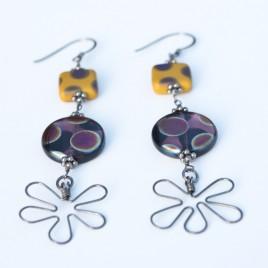 Amethyst  & Ochre Flower Earrings