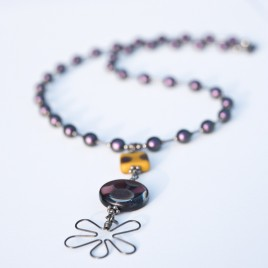 Amethyst & Ochre Flower Necklace