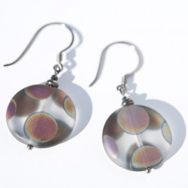Sterling silver - black finish, Clear Peacock Disc Earrings