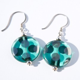 Sterling silver zircon silver spot disc earrings