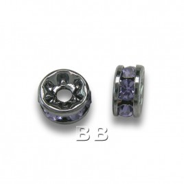 Tanzanite 4.5mm Black Plate Czech Crystal Rhinestone Rondelles
