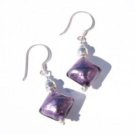 Tanzanite Artisan glass bead Earrings