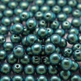 Teal-Green Iridescent Metallic coated 6mm round Czech glass druk beads - Retail system