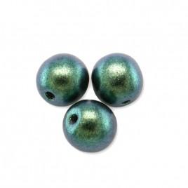 Teal-Green Iridescent Metallic coated 6mm round Czech glass druk beads