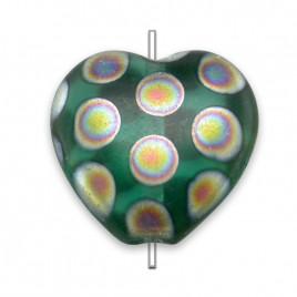 Teal Peacock Matt Heart 16x15mm Pressed Czech Glass Bead- Retail system