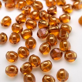 Topaz 8mm Tricon Cut, Golden Finished Fire Polished Glass Bead