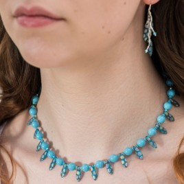 Turquoise & Pearl Dagger Necklace Crystallized with Swarovski®