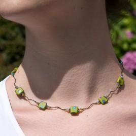 Twisty Olivine Peacock Bead Necklace