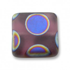 Very Grape Peacock matt 15x15mm Square Glass Bead  - Retail System