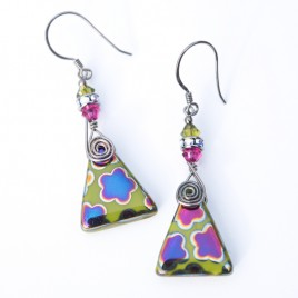 Wild Lime Flower, Glass Bead Triangle Earrings – Sterling Silver (black finish) components