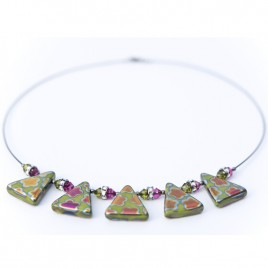 Wild Lime Flower Triangle Necklace