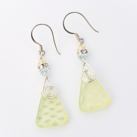 Wild Primrose Glass Bead Triangle Earrings