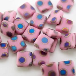 Wild Rose Peacock Matt 10x10mm SquareCzech Glass Bead