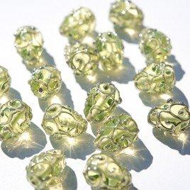 12x8mm Green/Yellow Czech Glass Lampwork Bead Drop