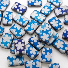 Strong Blue flower 12x8mm matt metallic rectangle with a 0.8mm hole.