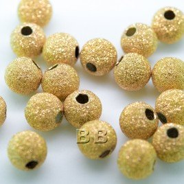 .925 Gold Finish sterling Silver 6mm Stardust Bead with 1.5mm Hole