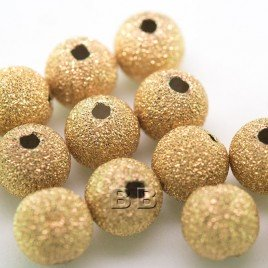 .925 Gold Finish Sterling Silver 8mm Stardust Bead with 2mm Hole