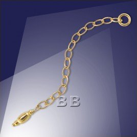 .925 Gold Finish Sterling Silver Extender Trace Chain Oval 4x2.5mm Links -60mm